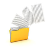 Yellow Folder and Paper. This is a 3d Rendered Computer Generated Image. Isolated on White Royalty Free Stock Images