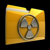 Yellow folder Radiation Alert sign Stock Photo