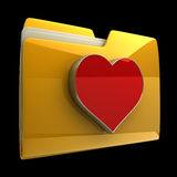 Yellow folder with red Heart. Isolated on black background High resolution 3D Stock Images
