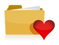Yellow folder with red Heart. Illustration design over white Stock Image