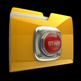Yellow folder with Red START button. Isolated on black background High resolution 3D Royalty Free Stock Photo