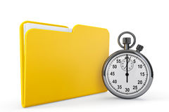 Yellow folder with stopwatch Stock Photos