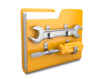 Yellow folder with wrench and screwdriver Stock Photography