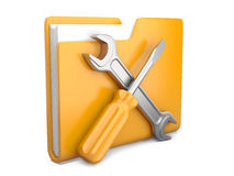 Yellow folder with wrench and screwdriver Royalty Free Stock Images