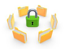 Yellow folders around green lock. Stock Photos