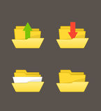 Yellow folders collection Royalty Free Stock Images