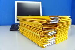 Yellow folders with paper documents Royalty Free Stock Photography