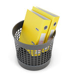 Yellow folders in the trash can isolated on white background. 3d. Yellow folders in the trash can isolated on white background. Wastepaper basket and folders. 3d Stock Image