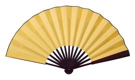 Yellow folding fan. Isolated on white background royalty free stock photo