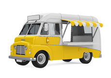 Yellow Food Truck Isolated. On background. 3D render Stock Images