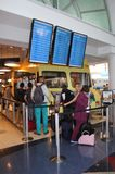 Yellow Food Truck in Los Angeles Airport, LAX. A yellow food truck sits in terminal 4 at Los Angeles Airport, LAX, offering a quick meal to waiting passengers Stock Image