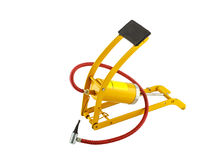 Yellow foot air pump. Isolated on white background royalty free stock image