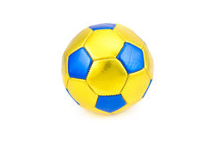 Yellow football ball on white background Royalty Free Stock Images