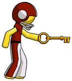 Yellow Football Player Man with big key of gold opening somethin. G - Toon Rendered 3d Illustration Stock Photos