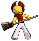 Yellow Football Player Man broom fighter defense pose. Toon Rendered 3d Illustration Royalty Free Stock Image