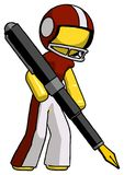 Yellow Football Player Man drawing or writing with large calligraphy pen royalty free illustration