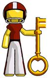 Yellow Football Player Man holding key made of gold. Toon Rendered 3d Illustration Stock Images