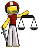 Yellow Football Player Man justice concept with scales and sword. Justicia derived - Toon Rendered 3d Illustration Royalty Free Stock Photography