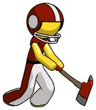 Yellow Football Player Man striking with a red firefighter`s ax. Toon Rendered 3d Illustration Royalty Free Stock Photo