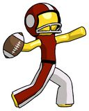 Yellow Football Player Man throwing football. Toon Rendered 3d Illustration Stock Photography