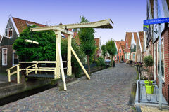 Yellow footbridge,Volendam,Holland Stock Photo