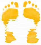 Yellow footprints. Yellow abstract of two foot prints on white background Royalty Free Stock Photo