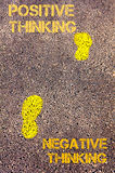 Yellow footsteps on sidewalk from Negative Thinking to Positive Thinking message. Concept image. Yellow footsteps on sidewalk from Negative Thinking to Positive Royalty Free Stock Photography