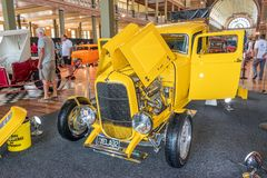 Yellow Ford hot rod car. At Victorian Hot Rod & Cool Rides Show in Melbourne, Australia Stock Images