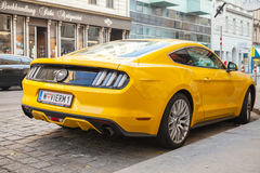 Yellow Ford Mustang 2015 car, rear view Royalty Free Stock Images