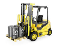 Yellow Fork Lift Lifts Four Oil Barrels Stock Image