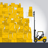 Yellow fork lift loader works in storage Royalty Free Stock Images