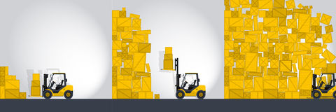 Yellow fork lift loader works in store - comics strip. Yellow fork lift loader works in store nice lift loads crate box in warehouse storage comics strip flatten Royalty Free Stock Images