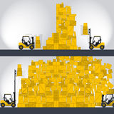 Yellow fork lift loader works in store - comics strip. Yellow fork lift loader works in store nice lift loads crate box in warehouse storage comics strip flatten Stock Photo