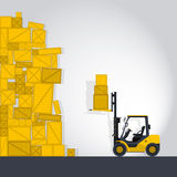Yellow fork lift loader works in store Royalty Free Stock Photos