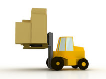 Yellow fork lift truck Royalty Free Stock Photo