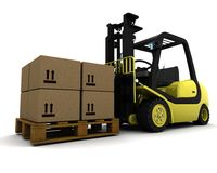 Yellow Fork Lift Truck Isolated on White Stock Images