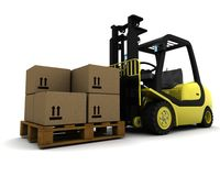 Yellow Fork Lift Truck Isolated on White Stock Image