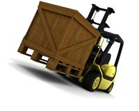 Yellow Fork Lift Truck Isolated on White Royalty Free Stock Photos