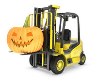 Yellow fork lift truck lifts halloween lantern Royalty Free Stock Photos