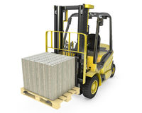 Yellow fork lift truck moves stacked dollars Stock Photography