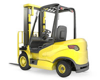 Yellow fork lift truck, rear view Stock Photos