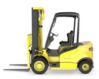 Yellow fork lift truck side view Royalty Free Stock Photo