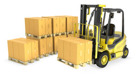 Yellow fork lift truck with stack of carton boxes Royalty Free Stock Photos