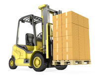 Yellow fork lift truck with stack ofboxes Stock Photos