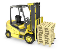 Yellow fork lift truck, with stack of pallets Stock Photos