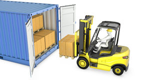 Yellow fork lift truck unloads cargo container Stock Photo