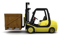 Yellow Fork Lift Truck on White Stock Photography