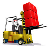 Yellow fork truck and box Royalty Free Stock Photo