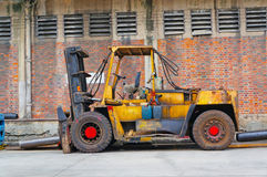 The yellow forklift Stock Photo