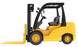 Yellow forklift truck isolated on white background Royalty Free Stock Photography